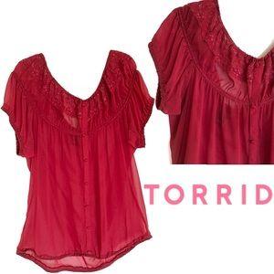 Torrid Dark Red Sheer Top Size 1